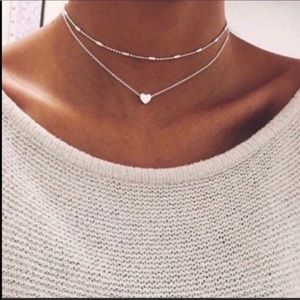 Double Layered Silver Heart Choker Necklace